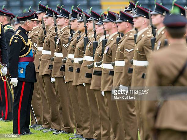 Prince Charles, Prince of Wales, Colonel-in-Chief The Mercian Regiment presents New Colours to all four Battalions of the Regiment at Sixways Stadium...