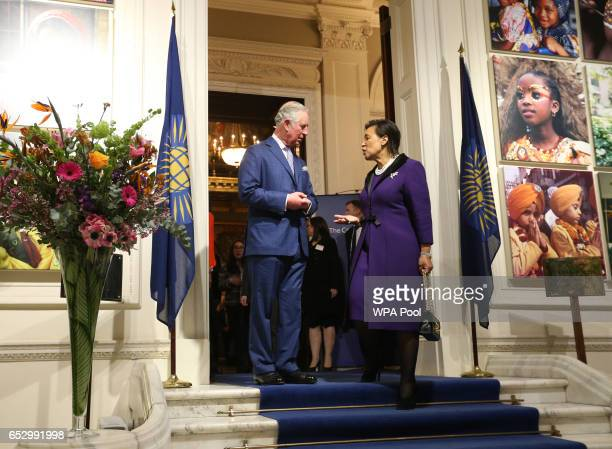 Prince Charles Prince of Wales Commonwealth is welcomed by event host Secretary General Baroness Scotland as they attends the annual Commonwealth Day...