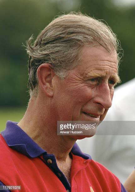 Prince Charles Prince of Wales competes in the Burberry Cup at Cirencester Park Polo Club on June 17 2005 in Gloucestershire England