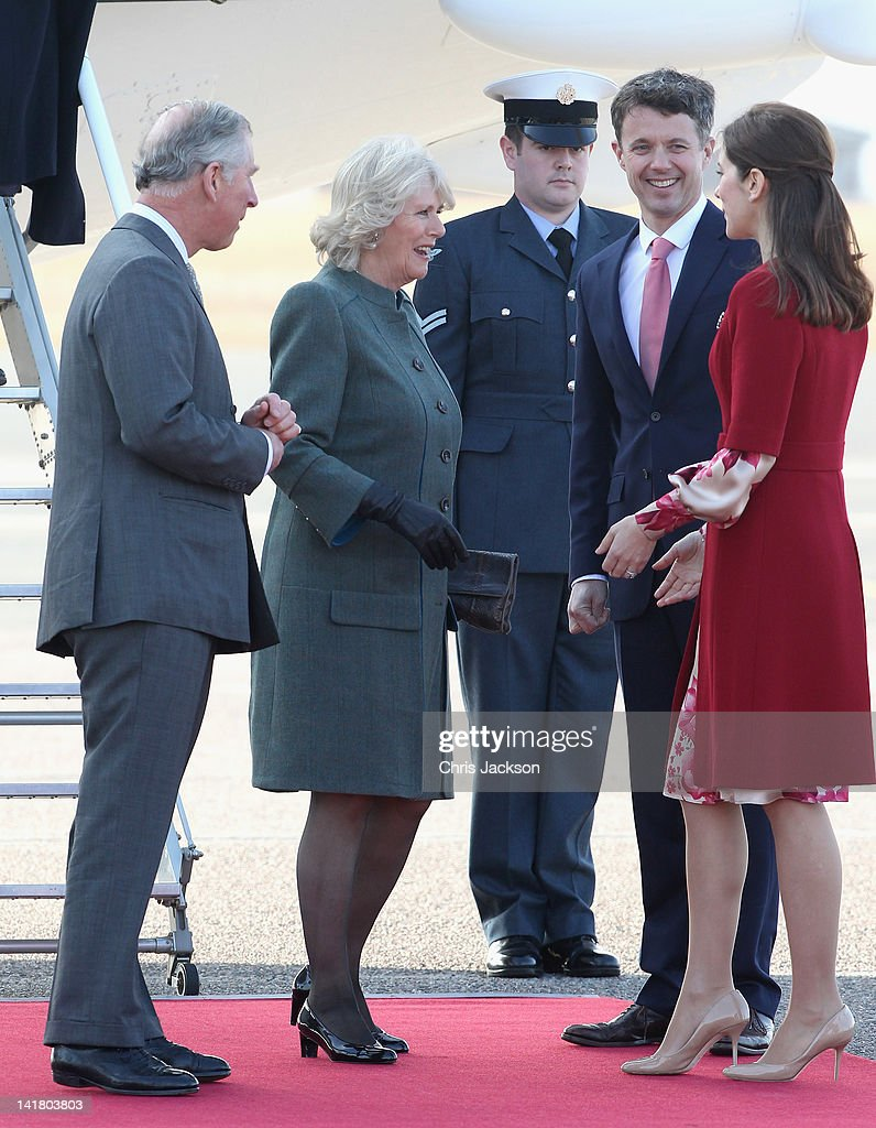 Prince Charles, Prince of Wales , Crown Prince Frederik Of Denmark, Camilla, Duchess of Cornwall and Princess Mary of Denmark as they arrive at Copenhagen Kastrup Airport on March 24, 2012 in Copenhagen, Denmark. Prince Charles, Prince of Wales and Camilla, Duchess of Cornwall are on a Diamond Jubilee tour of Scandinavia that takes in Norway, Sweden and Denmark.