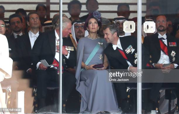 Prince Charles Prince of Wales Crown Princess Mary of Denmark and Crown Prince Frederick of Denmark attend the Enthronement Ceremony of Emperor...