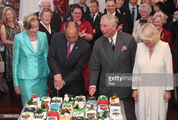 Prince Charles Prince of Wales cuts his cake during his 64th birthday celebration with Camilla Duchess of Cornwall at Government House on November 14...