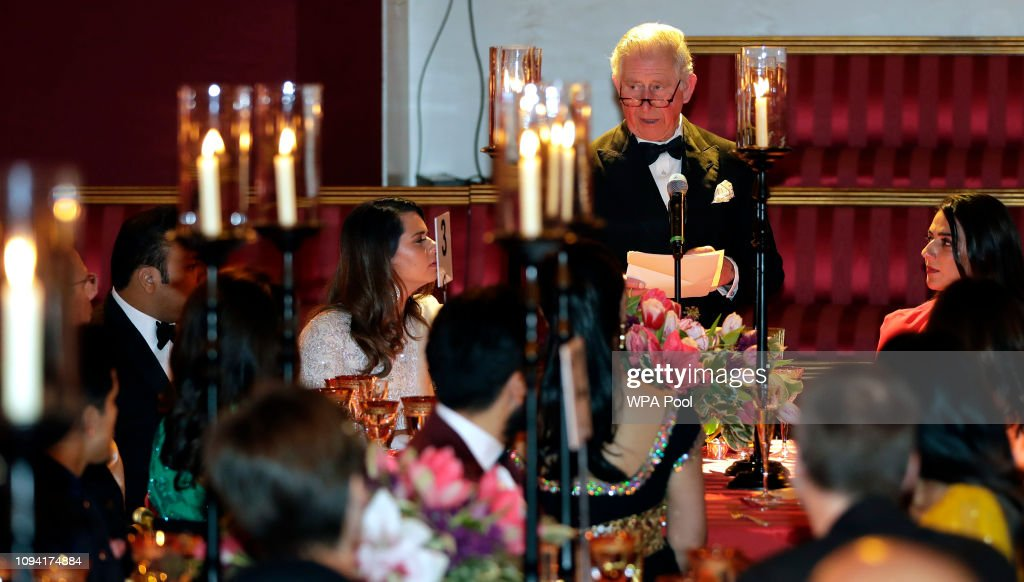 The Prince Of Wales And Duchess Of Cornwall Host A British Asian Trust Dinner At Buckingham Palace : News Photo