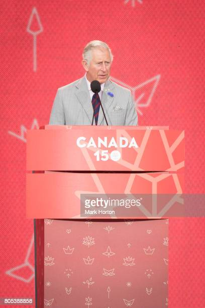Prince Charles Prince of Wales delivers remarks Canada Day celebrations at Parliament Hill on July 1 2017 in Ottawa Canada