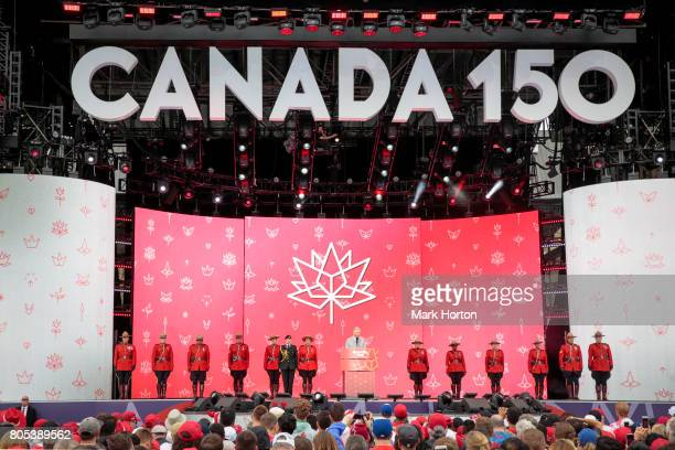 Prince Charles Prince of Wales delivers remarks during Canada Day celebrations at Parliament Hill on July 1 2017 in Ottawa Canada