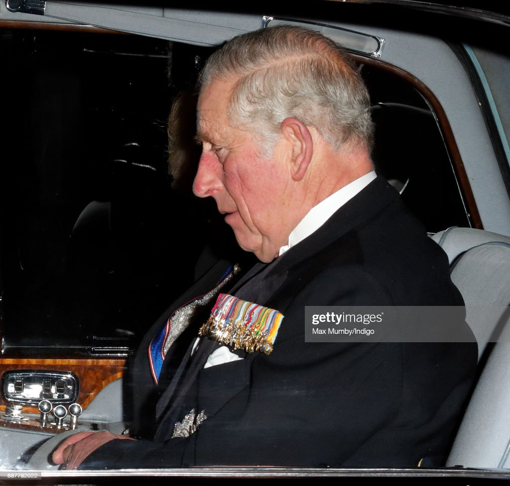Prince Charles, Prince of Wales departs after attending the annual Diplomatic Reception at Buckingham Palace on December 5, 2017 in London, England.