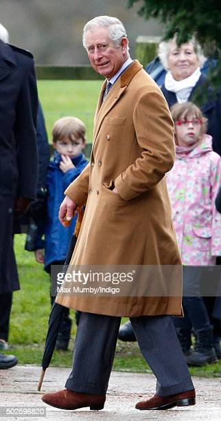 Prince Charles Prince of Wales departs after attending the Sunday service at St Mary Magdalene Church Sandringham on December 27 2015 in King's Lynn...