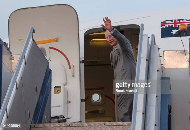 Prince Charles Prince of Wales departs Darwin and Australia from the RAAF Military base in Darwin on April 10 2018 The Prince of Wales and Duchess of...