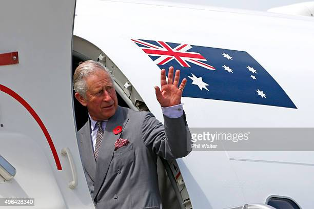 Prince Charles, Prince of Wales departs from the Whenuapai Airforce base for Australia on November 10, 2015 in Auckland, New Zealand. The Royal...