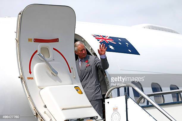 Prince Charles, Prince of Wales departs from the Whenupai Airforce base for Australia on November 10, 2015 in Auckland, New Zealand. The Royal couple...