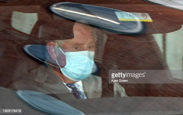 Prince Charles, Prince of Wales departs King Edward VII hospital where Prince Philip, Duke of Edinburgh is currently receiving treatment on February...