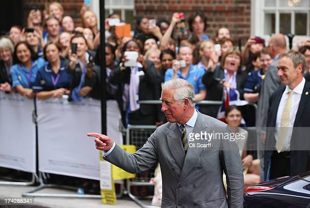 Prince Charles Prince of Wales departs The Lindo Wing after visiting Catherine Duchess Of Cambridge and her newborn son at St Mary's Hospital on July...