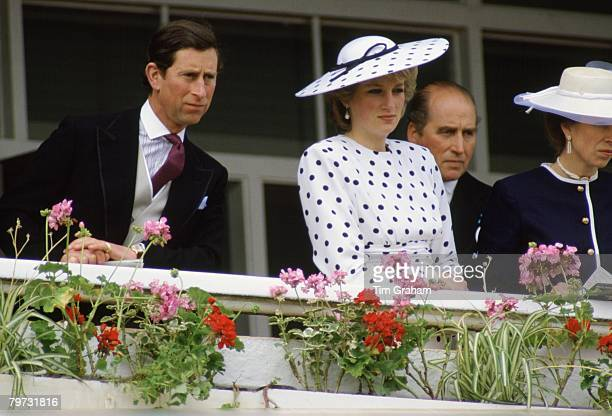 Prince Charles Prince of Wales Diana Princess of Wales and Princess Anne Princess Royal watch the Derby in Epsom Surrey