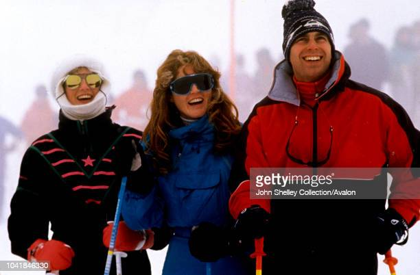 Prince Charles, Prince of Wales, Diana, Princess of Wales, Prince Andrew, Duke of York, and Sarah, Duchess of York, on a skiing holiday in Klosters,...