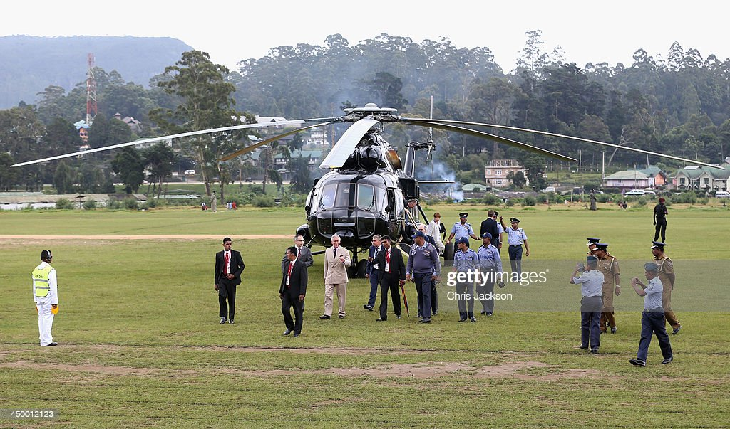 Prince Charles, Prince of Wales disembarks a Sri Lankan Airforce helicopter as he arrives in Nuwara Eliya on Day 3 of a visit to Sri Lanka on November 16, 2013 in Nuwara Eliya, Sri Lanka. The Royal couple are visiting Sri Lanka in order to attend the 2013 Commonwealth Heads of Government Meeting. Prince Charles, representing the Queen will open the meeting.