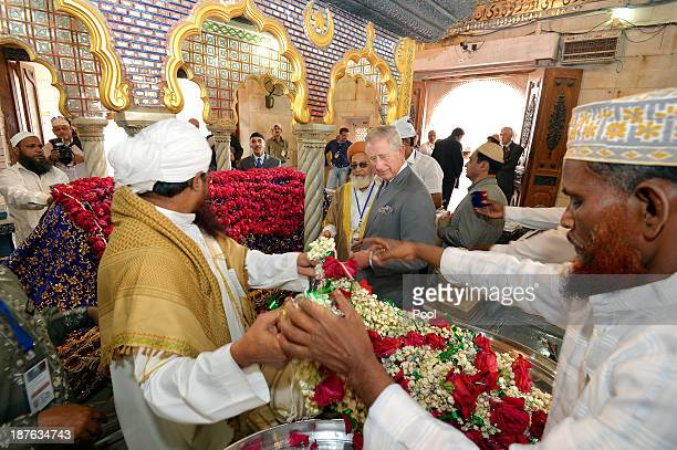 Prince Charles, Prince of Wales during a tour of the Haji Ali Mosque on Day 6 of an official visit to India on November 11, 2013 in Mumbai, India....