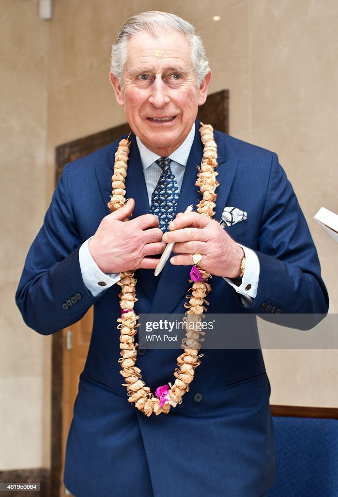 Prince Charles, Prince Of Wales during a tour of the Jain Temple on January 22, 2015 in Potters Bar, Hertfordshire, England. The Prince Of Wales was later presented with the Ahimsa Award which recognises individuals who show compassion and tolerance to humanity, animals and the environment.