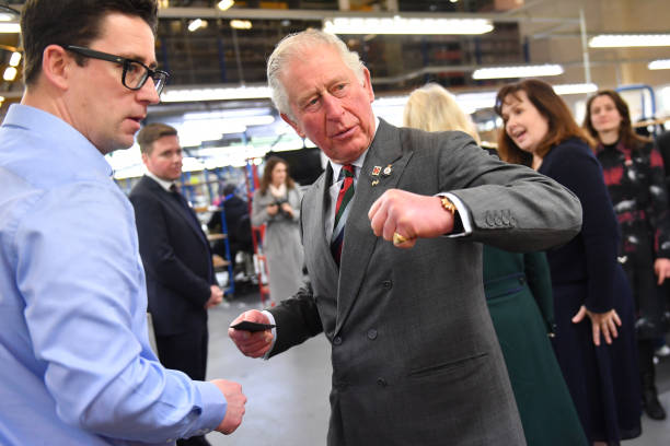 Prince Charles Prince of Wales during a visit to The Cambridge Satchel Company where he toured the company's workshops and met staff on February 11...