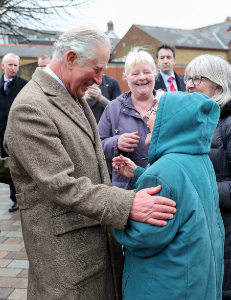 GBR: The Prince Of Wales Visits Pontypridd To Meet Those Affected By Recent Flooding