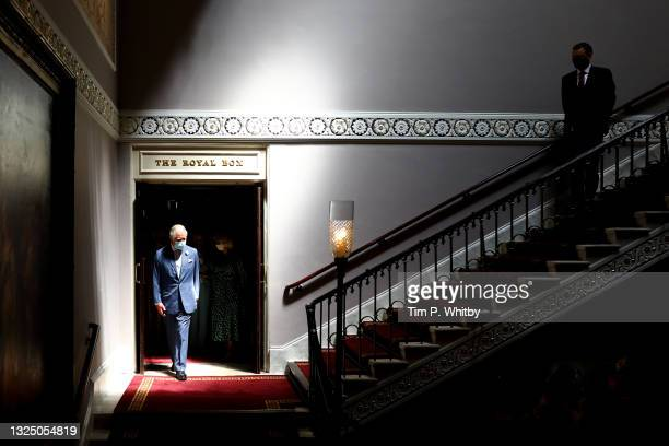 Prince Charles, Prince of Wales during a visit to Theatre Royal on June 23, 2021 in London, England. Theatre Royal Drury is the oldest theatre site...
