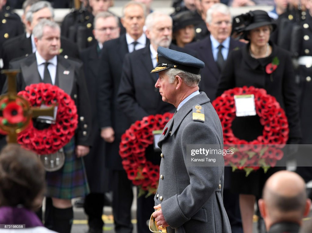 Prince Charles, Prince of Wales during the annual Remembrance Sunday Service at The Cenotaph on November 12, 2017 in London, England.