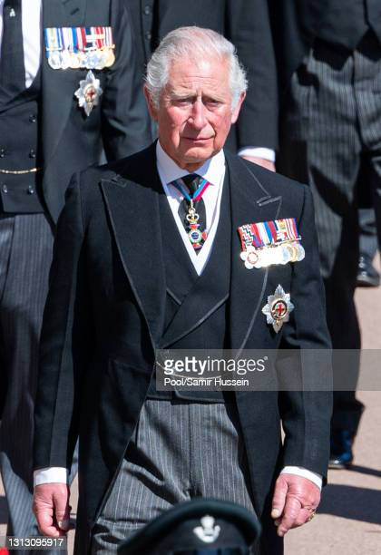 Prince Charles, Prince of Wales during the funeral of Prince Philip, Duke of Edinburgh on April 17, 2021 in Windsor, England. Prince Philip of Greece...