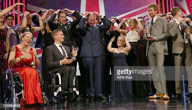 Prince Charles Prince of Wales Ellie Simmonds and Bradley Wiggins attend the Pride Of Britain awards at the Grosvenor House Hotel on October 29 2012...