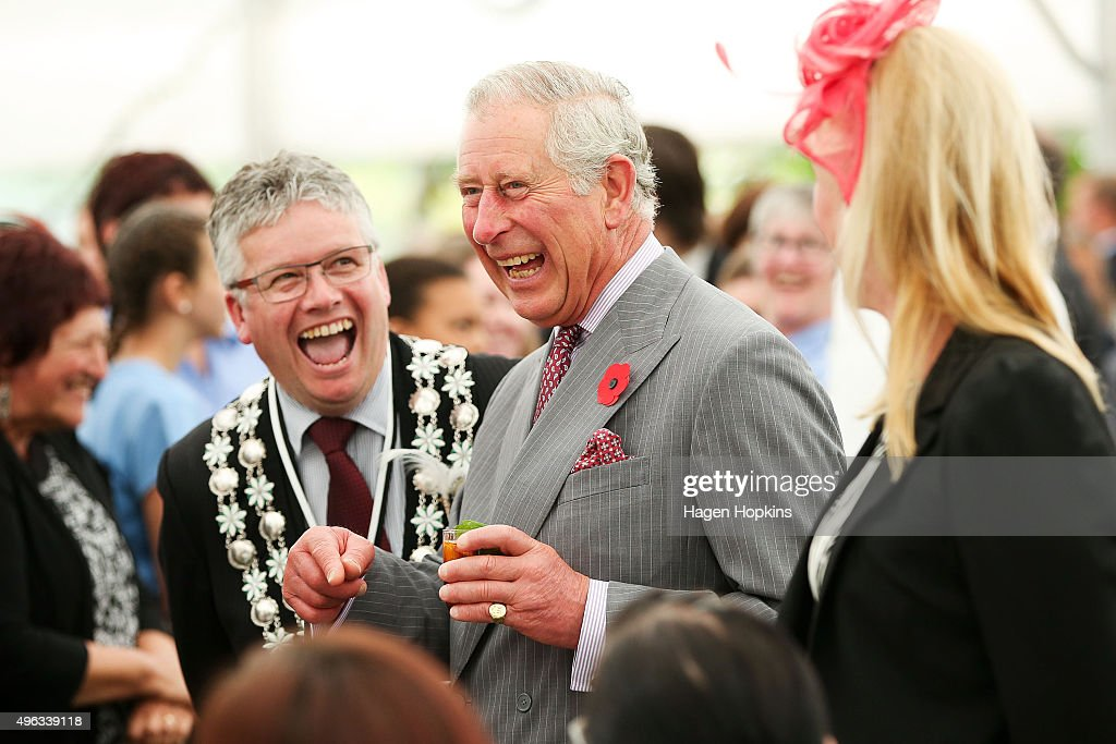 Prince Charles, Prince of Wales enjoys a laugh with New Plymouth mayor Andrew Judd during the 'Tea With Taranaki' event at Brooklands Park on November 9, 2015 in New Plymouth, New Zealand. The Royal couple are on a 12-day tour visiting seven regions in New Zealand and three states and one territory in Australia.