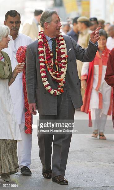 Prince Charles Prince of Wales garlanded and with a tilak mark on his forehead takes a walking tour of the Old City on the final day of a 12 day...