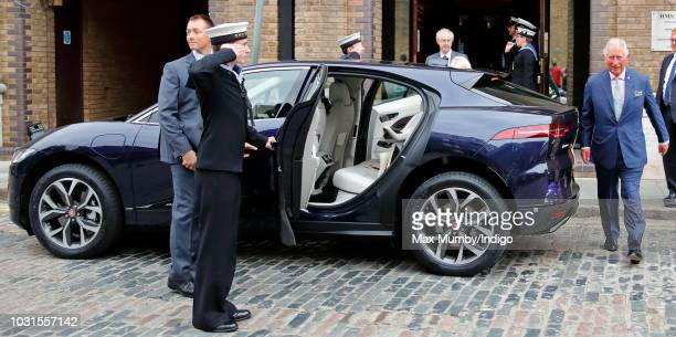 Prince Charles Prince of Wales gets into his new chauffeur driven Jaguar IPACE fully electric car following a visit to the newly refurbished 'Maiden'...