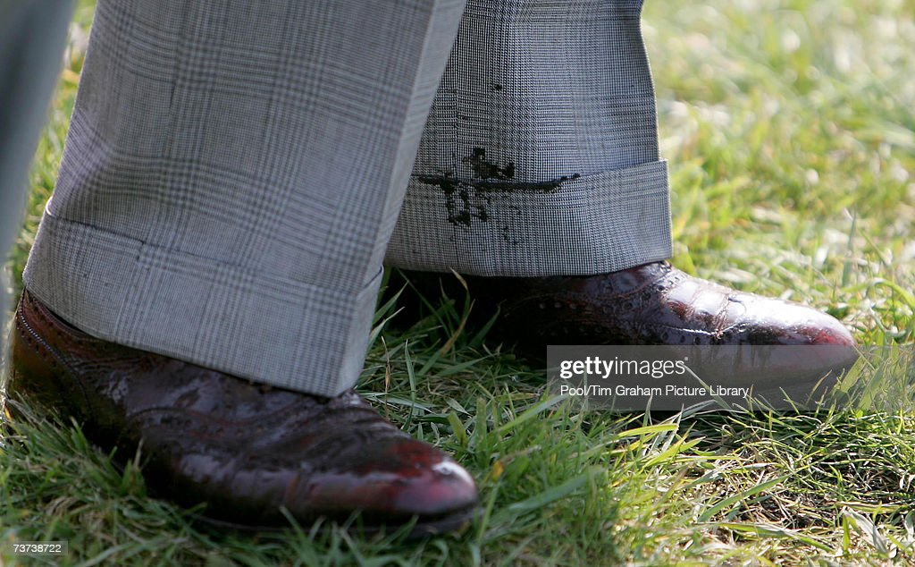 Prince Charles, Prince of Wales gets mud on his trousers and brown brogues during his visit to the GBP20 million Great Fen Project where experts hope to create one of Europe's biggest wetlands on March 27, 2007 in Ramsey, England.