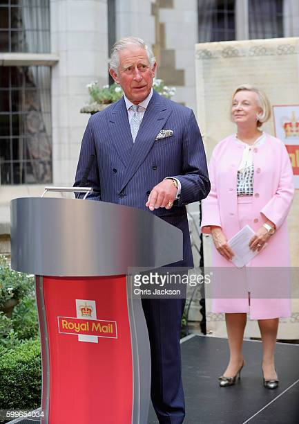 Prince Charles Prince of Wales gives a speech as CEO of Royal Mail Moya Breene looks on as he attends a reception to mark the 500th Anniversary of...