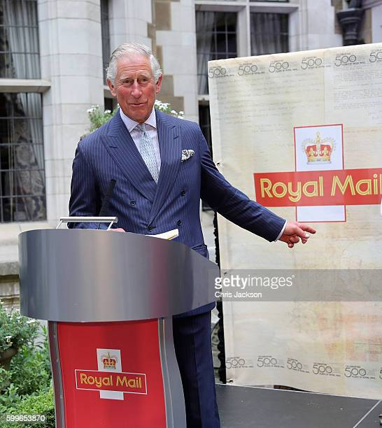 Prince Charles Prince of Wales gives a speech as he attends a reception to mark the 500th Anniversary of the Royal Mail at Merchant Taylor's Hall at...