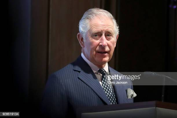 Prince Charles Prince of Wales gives a speech as he attends the Industrial Cadet Awards at Savoy Place on March 7 2018 in London England