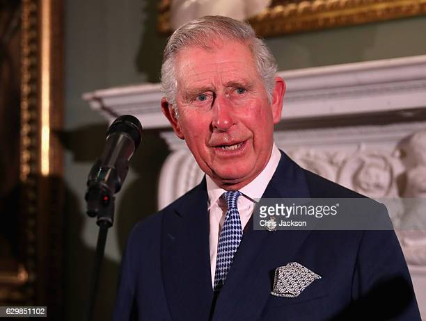 Prince Charles Prince of Wales gives a speech at the 'Style for Soldiers' Christmas Reunion Party at Spencer House on December 14 2016 in London...