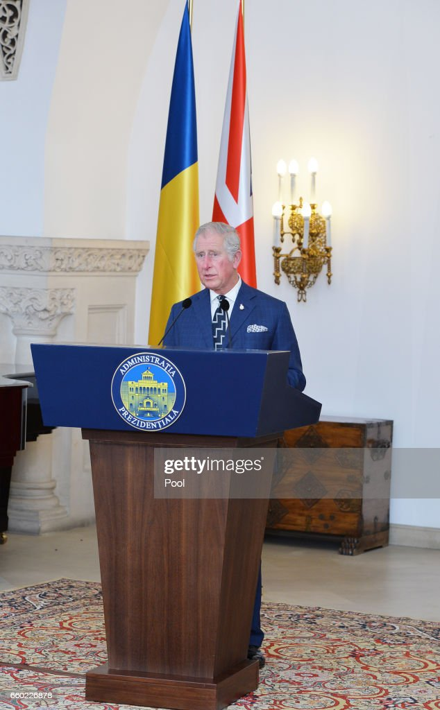 Prince Charles, Prince of Wales gives a speech of thanks after receiving the Order of the Star of Romania The Grand Cross from President of Romania Klaus Iohannis at the Palace of the Parliament in Bucharest at the start of his nine day European tour on March 29, 2017 in Bucharest, Romania.