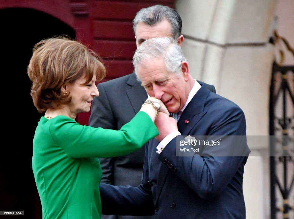 Prince Charles, Prince of Wales greets Crown Princess Margareta of Bucharest during a Tea with the Romanian Royal Family on the second day of his nine day European tour on March 30, 2017 in Bucharest, Romania.