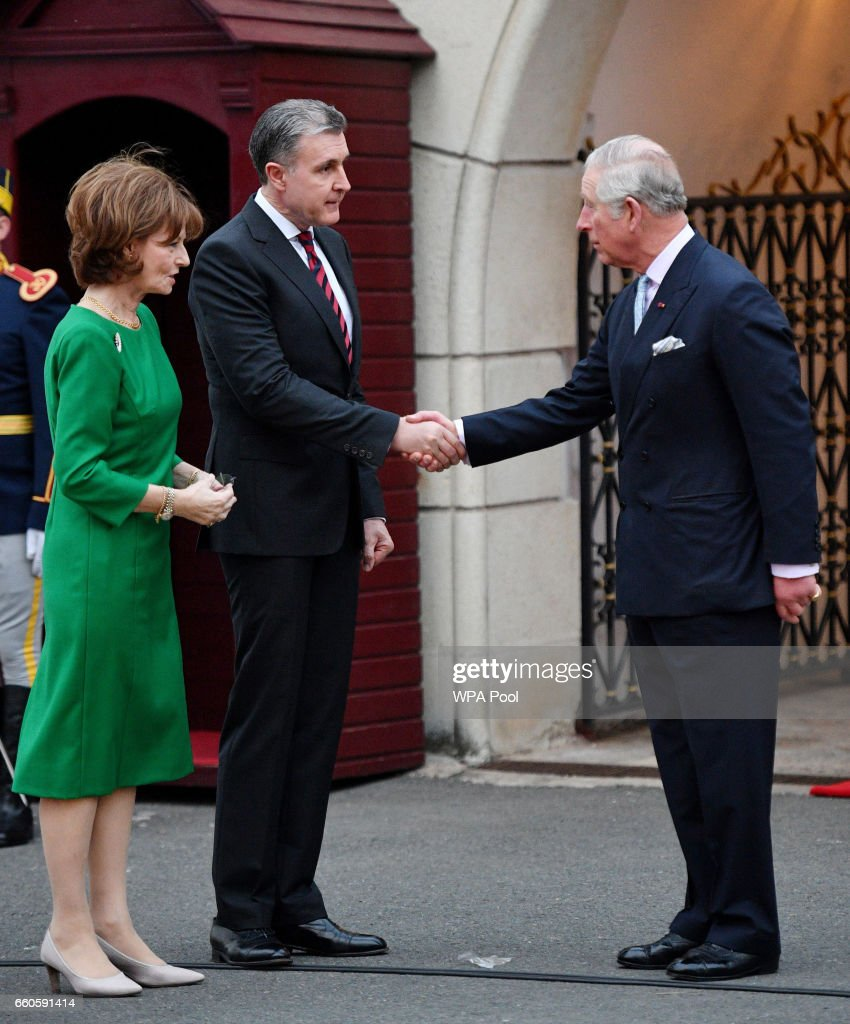 Prince Charles, Prince of Wales greets Crown Princess Margareta of Bucharest and Prince Radu of Bucharest during a Tea with the Romanian Royal Family on the second day of his nine day European tour on March 30, 2017 in Bucharest, Romania.