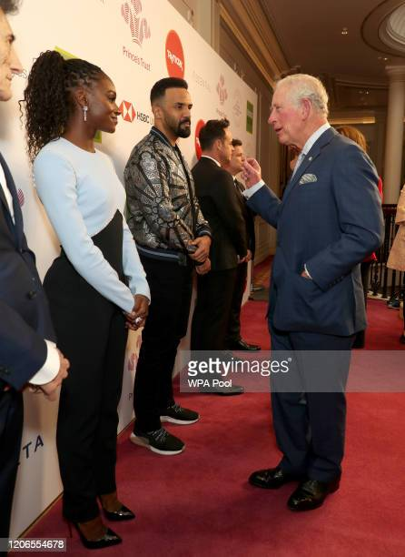 Prince Charles Prince of Wales greets Dina AsherSmith and Craig David as he attends the Prince's Trust And TK Maxx Homesense Awards at London...