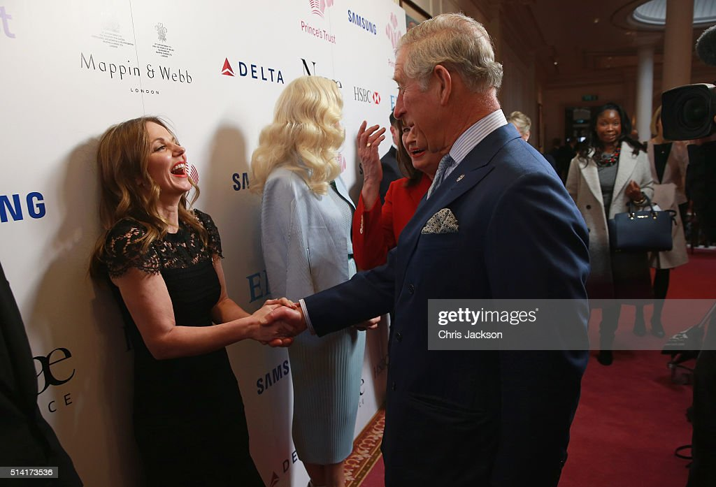 Prince Charles, Prince of Wales greets Geri Horner as they attend The Prince's Trust Celebrate Success Awards at London Palladium on March 7, 2016 in London, England.