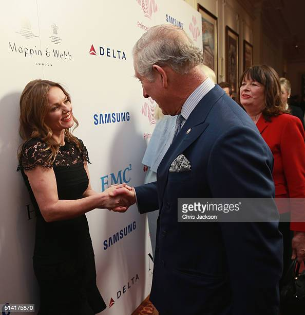 Prince Charles Prince of Wales greets Geri Horner as they attend The Prince's Trust Celebrate Success Awards at London Palladium on March 7 2016 in...