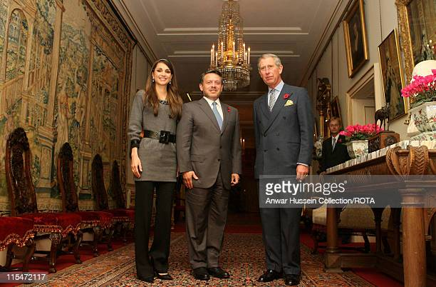 Prince Charles Prince of Wales greets King Abdullah II and Queen Rania AlAbdullah of Jordan at Clarence House in central London on November 6 2006