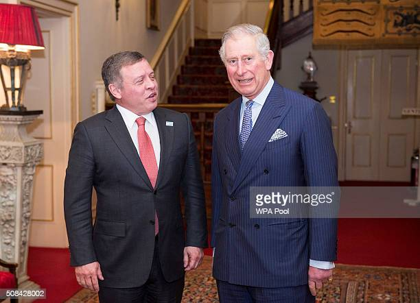 Prince Charles Prince of Wales greets King Abdullah II of Jordan at Clarence House on February 4 2016 in London United Kingdom The Prince of Wales is...