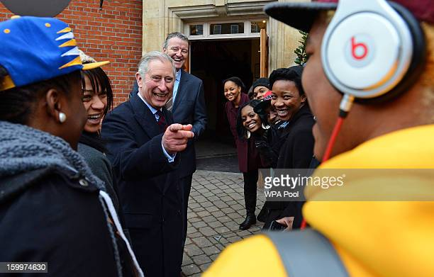 Prince Charles Prince of Wales greets local youths who take part in The Prince's Trust activities during a visit to Surrey County Cricket Club at the...