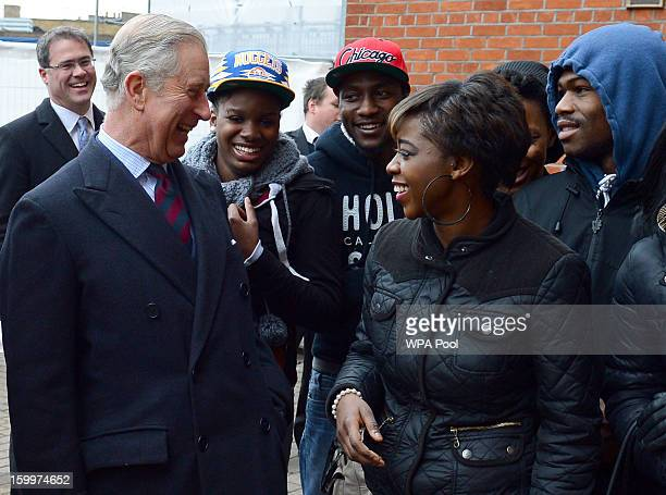 Prince Charles, Prince of Wales greets local youths who take part in The Prince's Trust activities during a visit to Surrey County Cricket Club at...