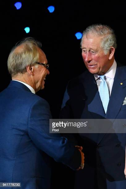 Prince Charles Prince of Wales greets Peter Beattie during the Opening Ceremony for the Gold Coast 2018 Commonwealth Games at Carrara Stadium on...
