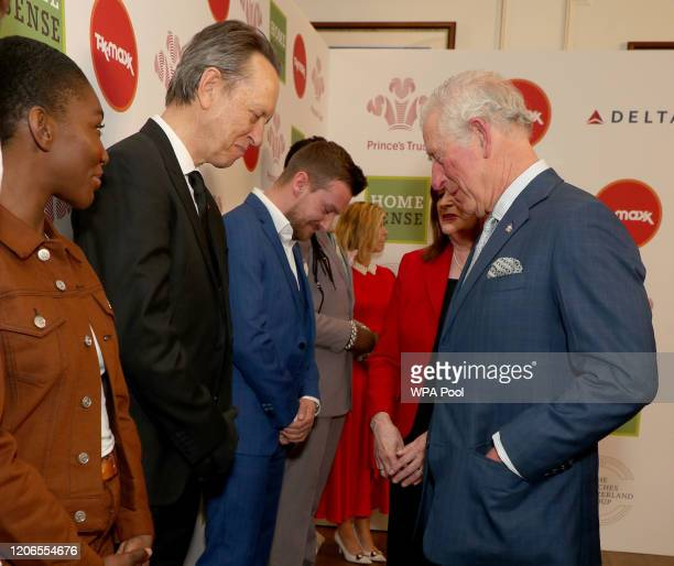 Prince Charles Prince of Wales greets Richard E Grant as he attends the Prince's Trust And TK Maxx Homesense Awards at London Palladium on March 11...