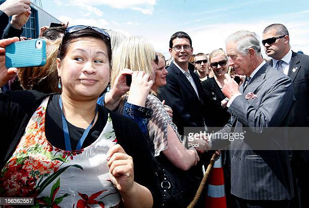 Prince Charles Prince of Wales greets wellwishers during a walkabout along the wharf waterfront on November 14 2012 in Wellington New Zealand The...