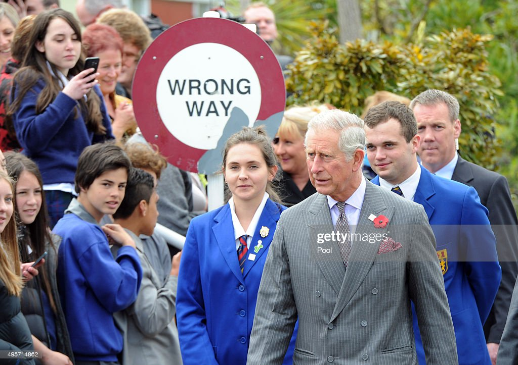 Prince Charles, Prince of Wales has a walkabout with pupils at Tawa College on November 5, 2015 in Wellington, New Zealand. The Royal couple are on a 12-day tour visiting seven regions in New Zealand and three states and one territory in Australia.