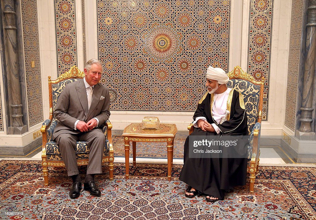 Prince Charles, Prince of Wales has an audience with the Sultan of Oman Qaboos bin Said Al Saidat at the Sultan's Palace at Bayt al Baraka on the seventh day of a tour of the Middle East on March 17, 2013 in Muscat, Oman. The Royal couple are on the fourth and final leg of a tour of the Middle East taking in Jordan, Qatar, Saudia Arabia and Oman.